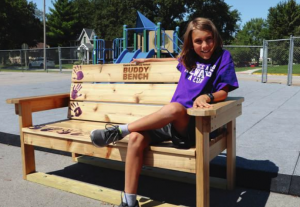 Miles Sitting on Buddy Bench