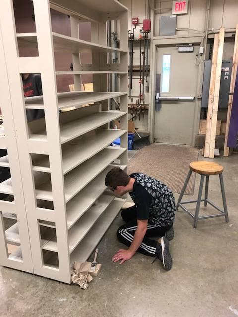 Student Painting Shelf